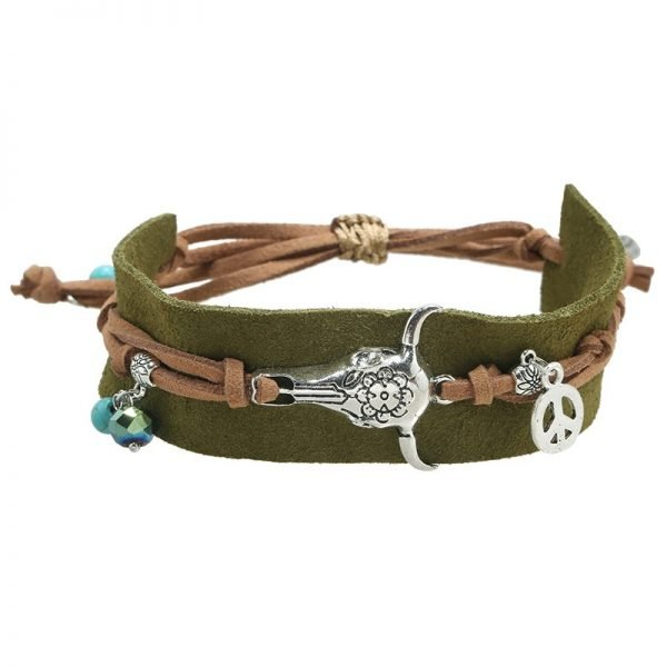 Armband-boho-charms groen groene seudine armband zilveren bedels bull peace dames armbanden koord veters shop online