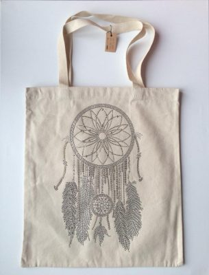 Canvas Shopper Dreamcatcher off wit witte canvas tassen shoppers tas met dromenvanger print summer big bags online ladies online