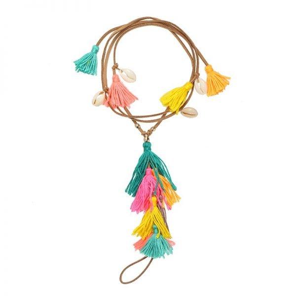 Enkelbandje Colorful Tassles bruin bruine boho veter enkelbandjes gekleurde kwastjes geel roze oranje ankle-bracelets dames bohemian vakantie ibiza
