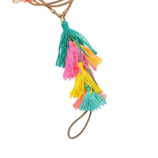 Enkelbandje Colorful Tassles bruin bruine boho veter enkelbandjes gekleurde kwastjes geel roze oranje ankle-bracelets dames bohemian vakantie ibiza detail