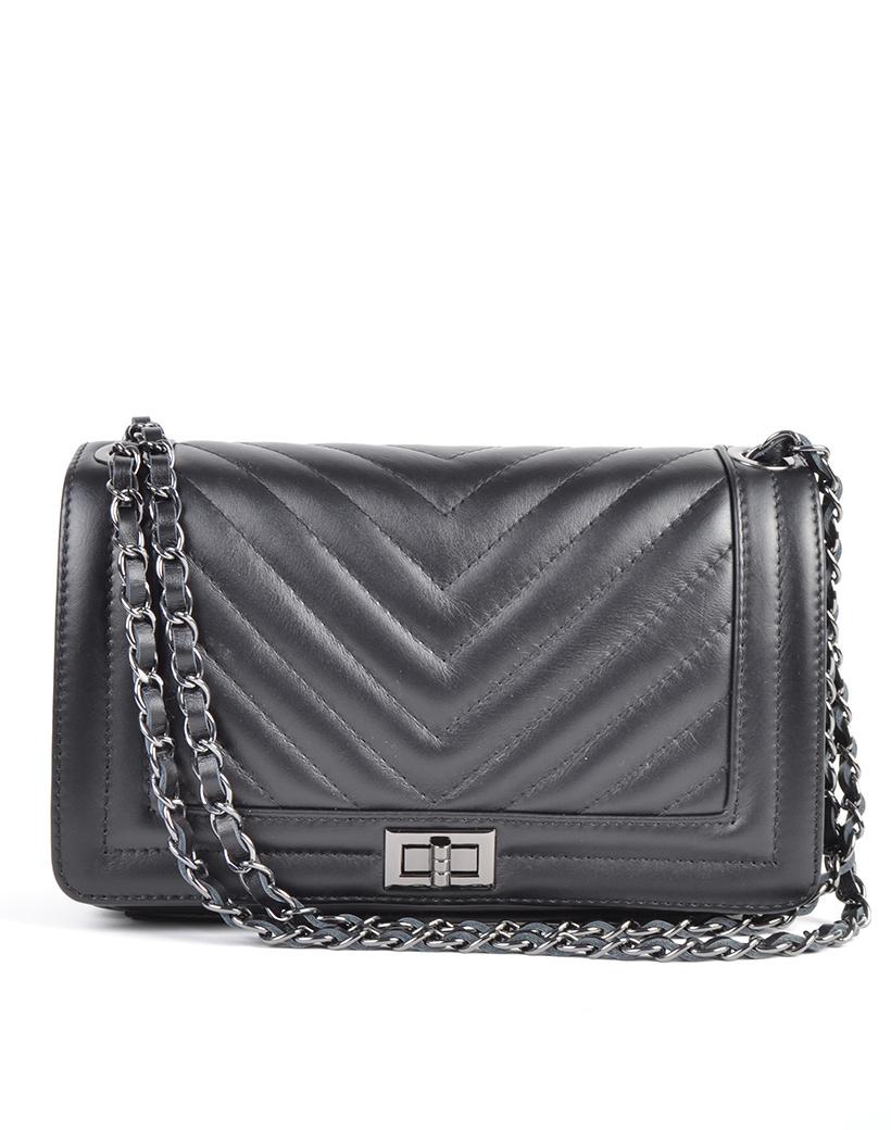 Leren-Tas-Boy-Coco-zwart-zwarte-leren-boy-bag-640-inspired-leren-tas-zilveren-kettinghengsel- itbags-online-kopen-leder