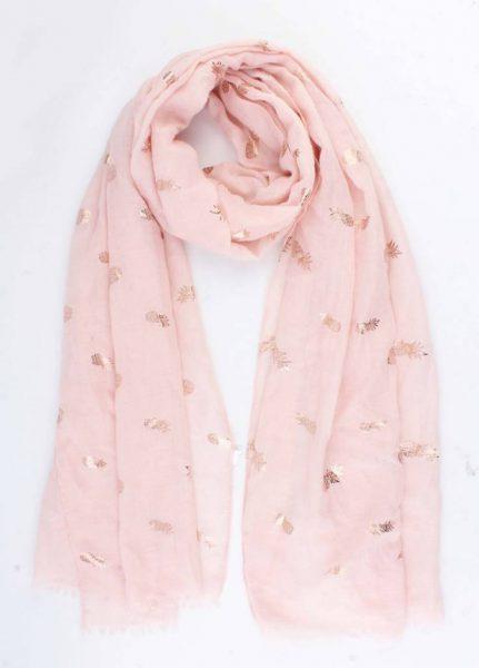 Sjaal Golden Pineapple roze pink dames sjaal gouden ananas print vrolijke sjaals online omslagdoek ladies shawls online