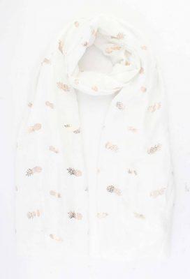 Sjaal Golden Pineapple wit witte dames sjaal gouden ananas print vrolijke sjaals online omslagdoek ladies shawls online