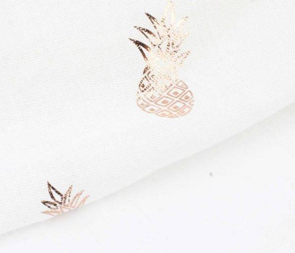 Sjaal Golden Pineapple wit witte dames sjaal gouden ananas print vrolijke vierkante grote sjaals online omslagdoek ladies shawls online details