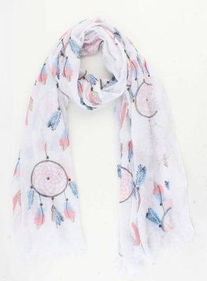 Sjaal Happy Dreamcatcher wit witte dames sjaal met blauwe roze dromenvanger print vrolijke sjaals online omslagdoek ladies shawls online