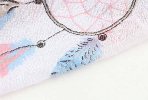Sjaal Happy Dreamcatcher wit witte dames sjaal met blauwe roze dromenvanger print vrolijke sjaals online omslagdoek ladies shawls online details