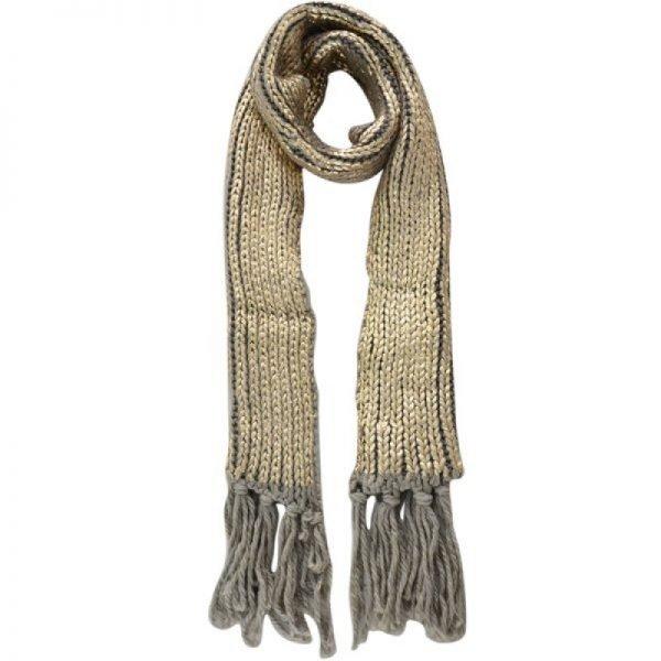Sjaal Snow bruin bruine gebreide dames sjaals glansdraad franjes fringe warme zilveren shawl woman online blue-