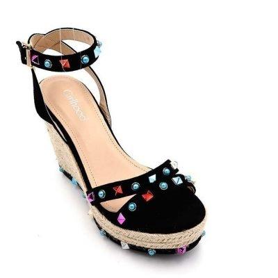 Sleehak Studs zwart zwarte sleehakken wedges hoge schoenen dames kleurde studs gekleurde stenen zomer musthave fashion shoes online
