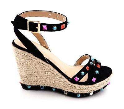 Sleehak Studs zwart zwarte sleehakken wedges schoenen dames gekleurde studs gekleurde stenen musthave fashion shoes online