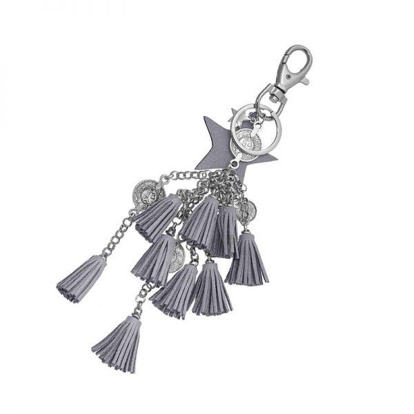 Sleutelhanger Stars & tassles zilver zilveren tassenhangers met bedels grijze grijs ster kwastjes munten online key chains detail