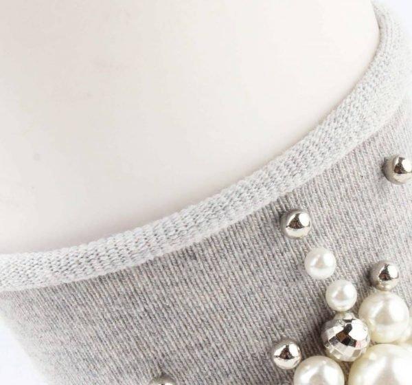 Sokken Pearl Flower grijs grijze korte dames sokken met witte grijze parel bloemen detail musthave fashion socks festival dames sokken online