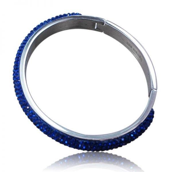 Zilveren Armband Stones blauw blauwe stenen steentjes strass dames armbanden rvs ronde bangles online bracelet