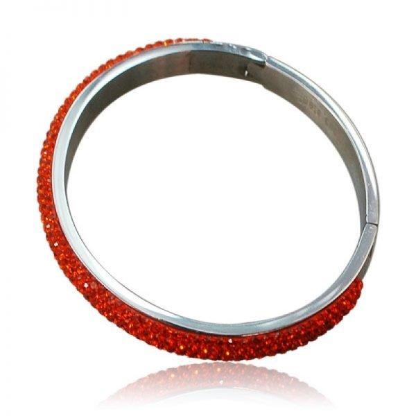 Zilveren Armband Stones rood rode stenen steentjes strass dames armbanden rvs ronde bangles online bracelet