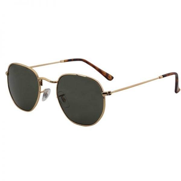 Zonnebril Tough Girl Groen groene glazen gouden montuur hippe fashion piloteb brillen iets hoekig brillen 2018 2019 shop online goedkoop