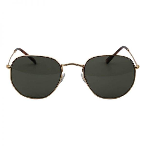 Zonnebril Tough Girl Groen groene glazen gouden montuur hippe fashion piloten brillen iets hoekig brillen 2018 2019 shop online goedkoop