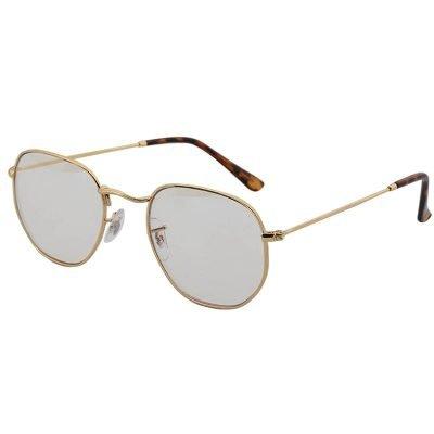 Zonnebril Tough Girl licht grijs grijze glazen gouden montuur hippe fashion piloten brillen iets hoekig brillen 2018 2019 shop online goedkoop vrouw