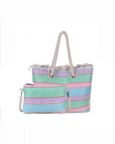 Strandtas Bag in Bag strepen roze mint groen paars creme clutch en strandtas stro gevlochten musthave giuliano strandtassen