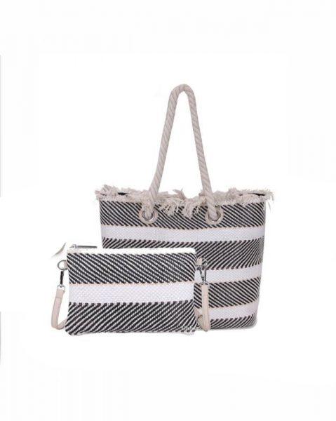 Strandtas Bag in Bag strepen zwart zwarte creme clutch en strandtas stro gevlochten musthave giuliano strandtassen