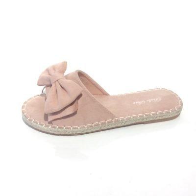 Espadrilles Slippers Bow roze pink dames slippers sandalen Espadrille zomer schoenen met strik online musthave fashion bestellen