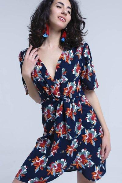 Jurk happy flowers blauw blauwe navy zomer korte jurken met bloemen print dames kleding midi dress-with-ruffle-detail-in-floral-print bestellen