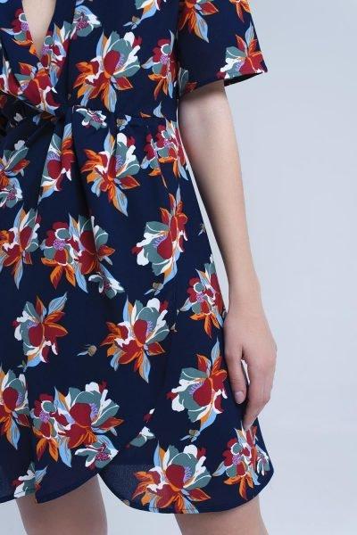 Jurk happy flowers blauw blauwe navy zomer korte jurken met bloemen print dames kleding omslagjurk midi dress-with-ruffle-detail-in-floral-print