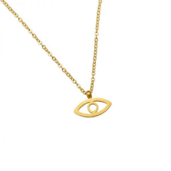 Ketting Third-eye-goud gouden-rvs-stainlessteel-kettingen necklage-oog-nazar-bedel-dames-kettingen-sieraden-online tv sieraden bestellen detail