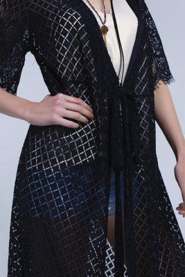 Lang Zwart gehaakt vest zwarte lange vesten zomer kimono's boho festival zomer kleding musthave fashion black-longline-lace-cardigan open vesten