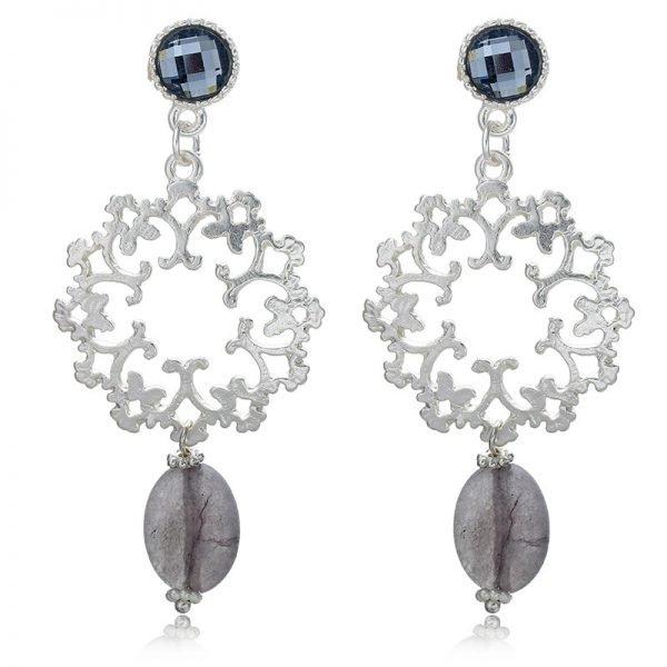 Oorbellen Glam Shine grijs grijze zilver zilveren statement earrings oorbel oorhanger grote dames oorbellen grijs grijze parel online bestellen
