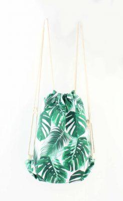 Rugzak Happy Leaves palmbladeren hippe rugtassen backpacks dames tassen online zomer strandtassen kopen bestellen