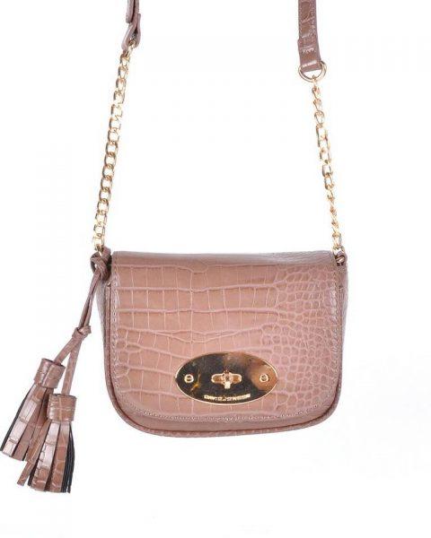 Schoudertasje Croco Tassle oud roze donker roze pink dames tasjes tassen david jones kwastjes gouden kettinghengsel