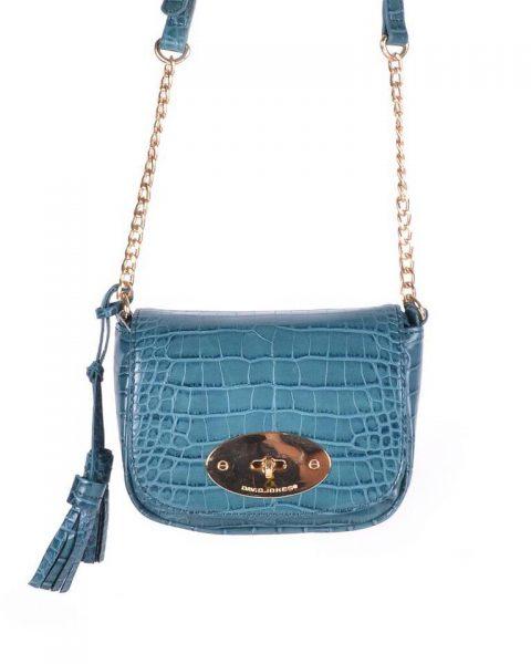 Schoudertasje Croco Tassle petrol groen blauw dames tasjes tassen david jones kwastjes gouden kettinghengsel