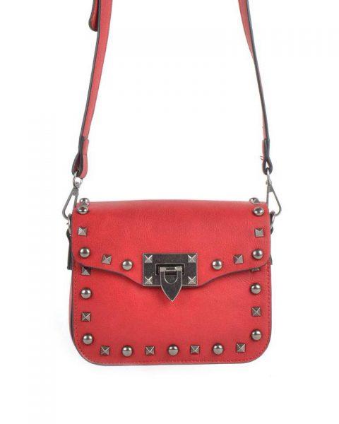 Schoudertasje-Silver Studs-rood rode tas zilveren-studs-it-bags-kleine-tas-online-bestellen-fashion-look-a-like-shoppen