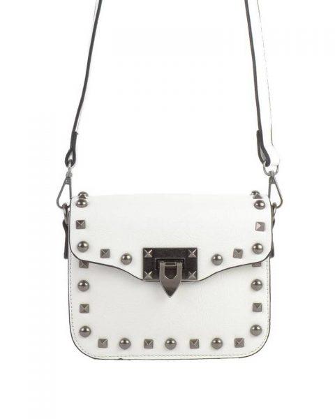 Schoudertasje-Silver Studs-wit witte zilveren-studs-it-bags-kleine-tas-online-bestellen-fashion-look-a-like-shoppen