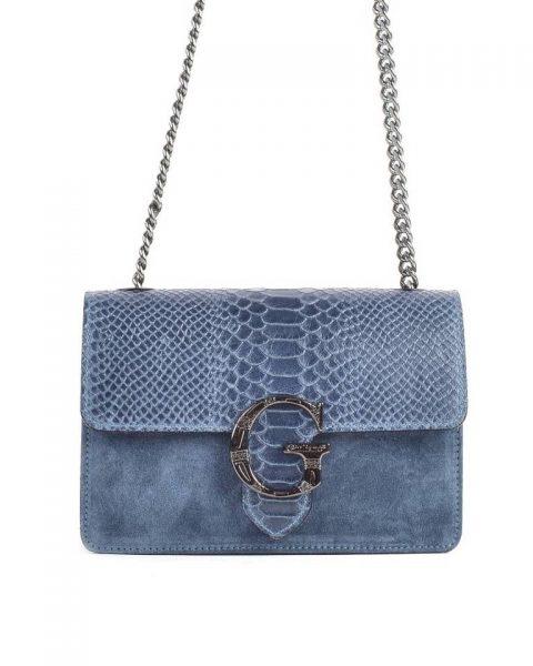 Suede Tas G Snake Flap blauw blauwe leren dames schoudertassen slangenprint snakeskin kettinghengsel zilveren gesp
