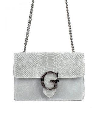 Suede Tas G Snake Flap grijs grijze leren dames schoudertassen slangenprint snakeskin kettinghengsel zilveren gesp