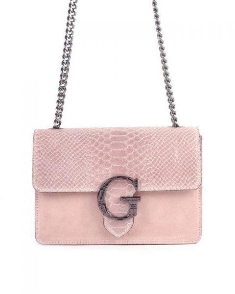 Suede Tas G Snake Flap roze pink leren dames schoudertassen slangenprint snakeskin kettinghengsel zilveren gesp