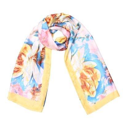 Zijde Sjaal Happy Spring geel gele bloemenprint silk shawls dames sjaal omslagdoeken modemusthaves online bestellen