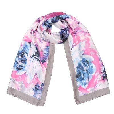 Zijde Sjaal Happy Spring grijs grijze bloemenprint silk shawls dames sjaal omslagdoeken modemusthaves online bestellen