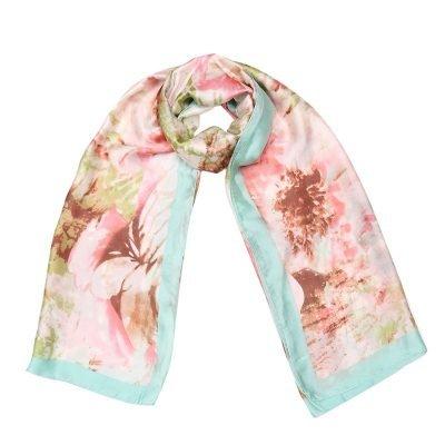 Zijde Sjaal Happy Spring mint bloemenprint silk shawls dames sjaal omslagdoeken modemusthaves online bestellen