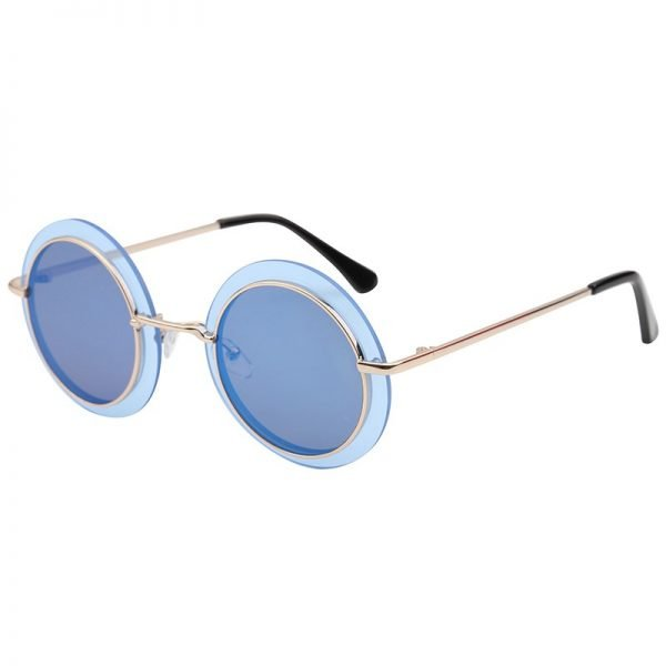 Zonnebril Retro Round goud gouden blauw blauwe grijs grijze glazen gouden goud montuur hippe fashion bril sunglases fashion brillen 2018 2019 shop online goedkoop bestel