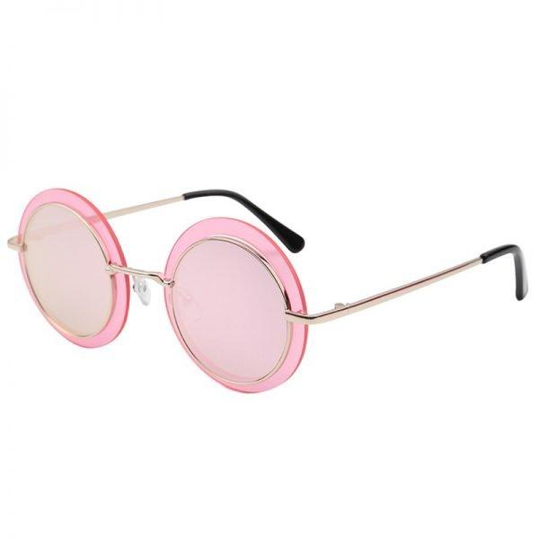 Zonnebril Retro Round goud gouden bril roze pink glazen gouden goud montuur hippe fashion bril sunglases fashion brillen 2018 2019 shop online goedkoop bestel