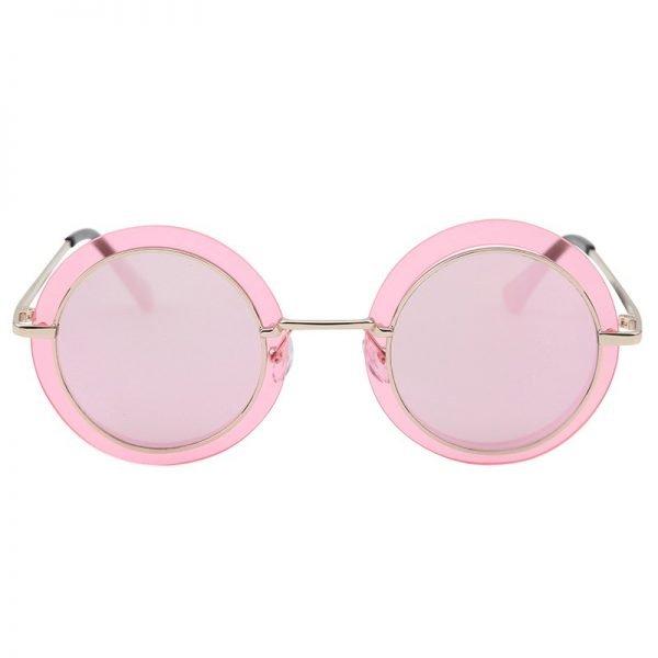 Zonnebril Retro Round goud gouden bril roze pink glazen gouden goud montuur hippe fashion bril sunglases fashion brillen 2018 2019 shop online goedkoop bestellen