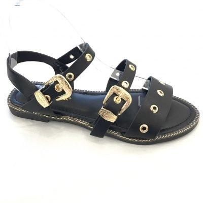 Zwarte Sandalen Gold Buckle zwart platte teensandalen open teen slippers gouden gesp en studs fashion schoenen
