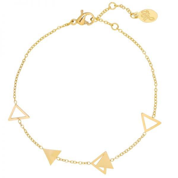 Armband Triangles goud gouden dames armbanden sieraden bracelets silver driehoekjes yehwang online kopen