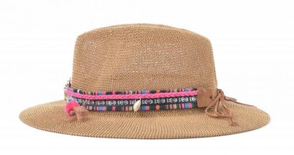 Boho Hoed Bull bruin bruine dames hoeden met longhorn bedel bolletjes veters riem stro gevlochten musthaves mode fashion