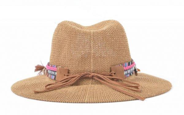 Boho Hoed Bull bruin bruine dames hoeden met longhorn bedel bolletjes veters riem stro gevlochten musthaves online kopen ibiza