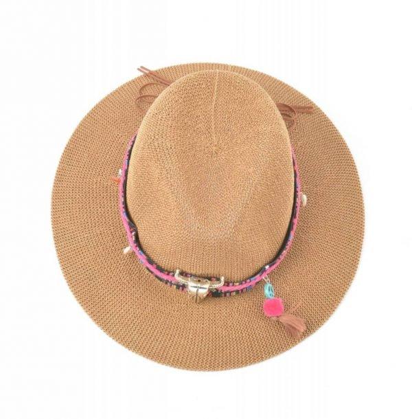 Boho Hoed Bull bruin bruine dames hoeden met longhorn bedel bolletjes veters riem stro gevlochten musthaves online kopen ibiza deukhoed