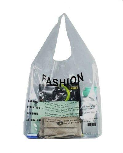 Doorzichtige Bag in Bag Tas clear pvc tassen bags fashion tekst print online handtassen schoudertassen dames kopen