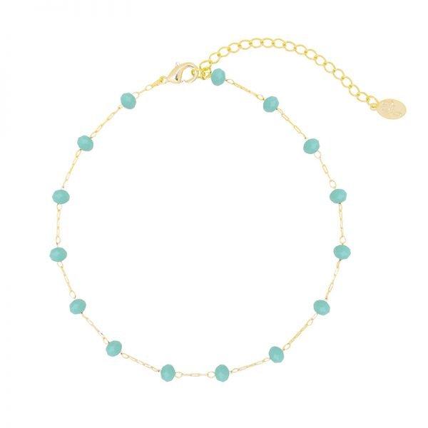 Enkelbandje Beaded Line goud gouden enkelbandjes mint turquoise stenen online kopen
