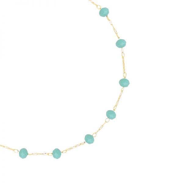 Enkelbandje Beaded Line goud gouden enkelbandjes mint turquoise stenen online kopen detail